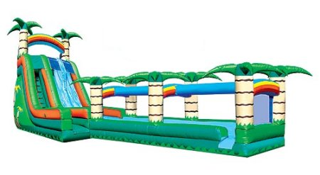 Island Falls Double-Lane Slide Slip-n-Slide Tropical Jungle Palm Tree Combo Rental Chicago